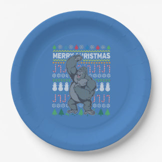 Gorilla Wildlife Merry Christmas Ugly Sweater Paper Plate