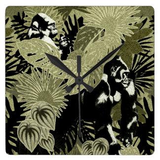 Gorillas In The Rain Forest #4 Square Wall Clock