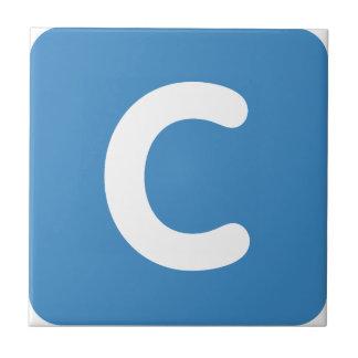 Gorjeo del emoji de la letra C Azulejo Cuadrado Pequeño
