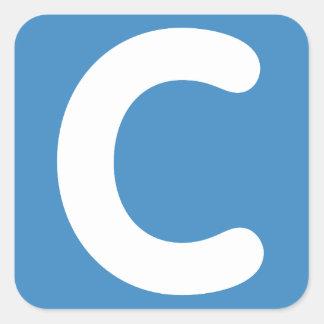 Gorjeo del emoji de la letra C Pegatina Cuadrada