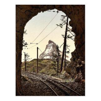 Gornergrat Railway, the Matterhorn from the tunnel Postcard