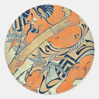 Goro pulling up bamboo by Torii Kiyomasu d Uki Stickers