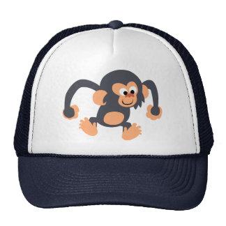 Gorra animoso lindo del chimpancé del dibujo anima