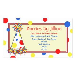 Gorra azul amarillo rojo del fiesta del lunar del tarjetas de visita