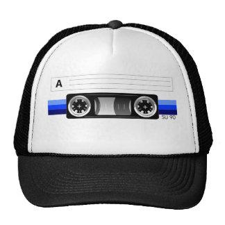 Gorra azul de la etiqueta de la cinta de casete