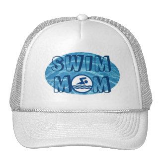 Gorra azul de la mamá de la nadada del agua de la