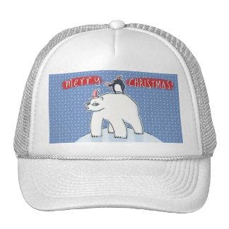Gorra azul del camionero del navidad del oso polar