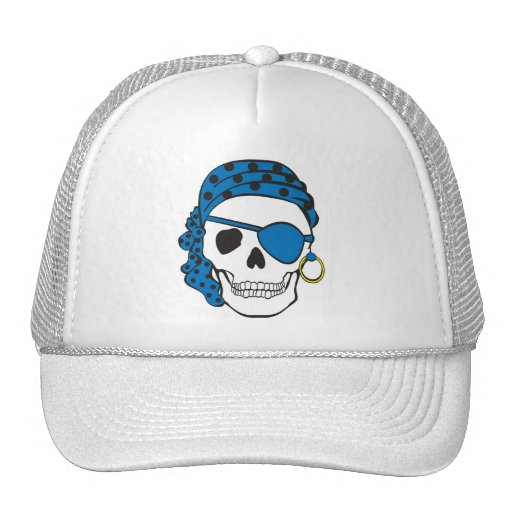 Gorra azul del cráneo del pirata