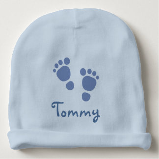 Gorra azul del niño de las huellas gorrito para bebe