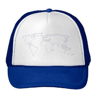 Gorra azul del recorte del mundo