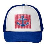 Gorra azul náutico del camionero del ancla
