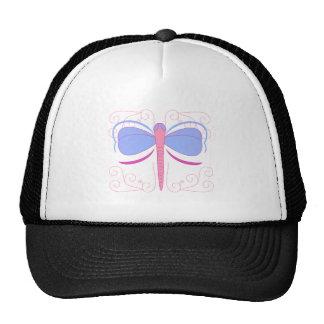 Gorra azul y magenta bonito de la libélula