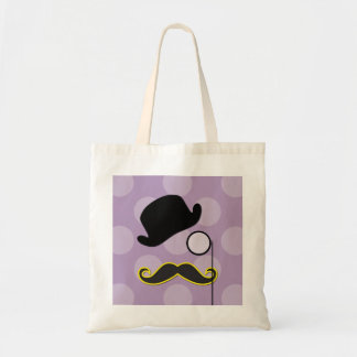 Gorra, bigote, monóculo - amarillo púrpura negro bolsa tela barata