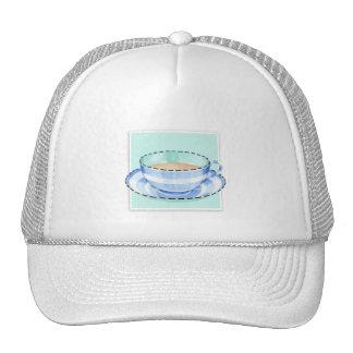 Gorra blanco azul del verde de la taza de té