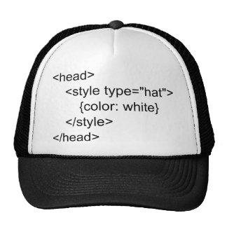 Gorra blanco de los programadores del HTML