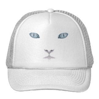 Gorra blanco del camionero de la cara del gato