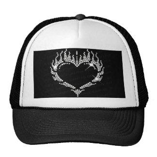 Gorra blanco del camionero del béisbol del corazón