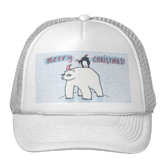 Gorra blanco del camionero del navidad del oso pol