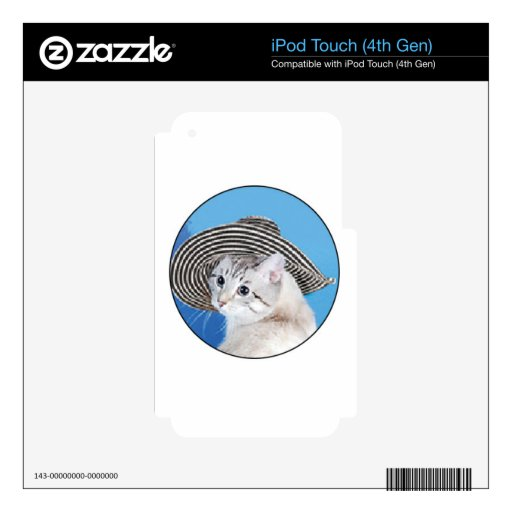 gorra blanco negro del gato iPod touch 4G calcomanía