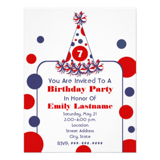 Gorra blanco y azul rojo de la fiesta de cumpleaño invitación
