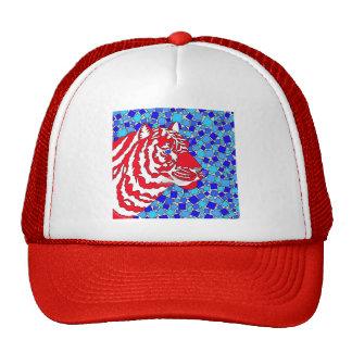 Gorra blanco y azul rojo del tigre
