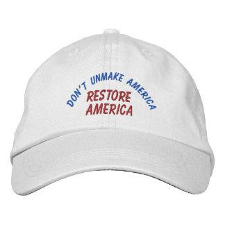 Gorra bordado América del restablecimiento Gorra Bordada