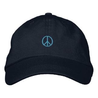 Gorra bordado azul del símbolo de paz gorra bordada