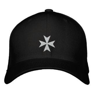 Gorra bordado blanco de la cruz maltesa gorra de béisbol