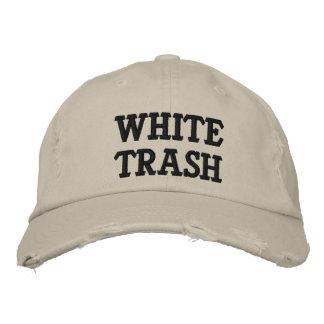 Gorra bordado de la basura blanca gorra de beisbol