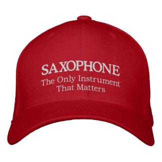 Gorra bordado del saxofón con lema gorra bordada