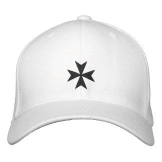Gorra bordado negro de la cruz maltesa gorra bordada