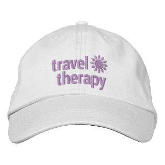Gorra bordado terapia del viaje en blanco y gorra de béisbol bordada