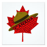 Gorra canadiense del Mountie en la hoja de arce Invitación 13,3 Cm X 13,3cm
