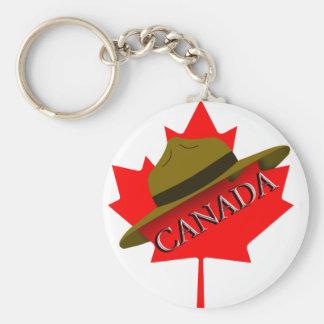 Gorra canadiense del Mountie en la hoja de arce Llavero Redondo Tipo Pin
