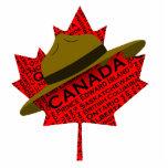 Gorra canadiense del Mountie en la hoja de arce ro Esculturas Fotográficas