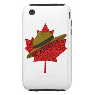 Gorra canadiense del Mountie en la hoja de arce ro Tough iPhone 3 Protectores