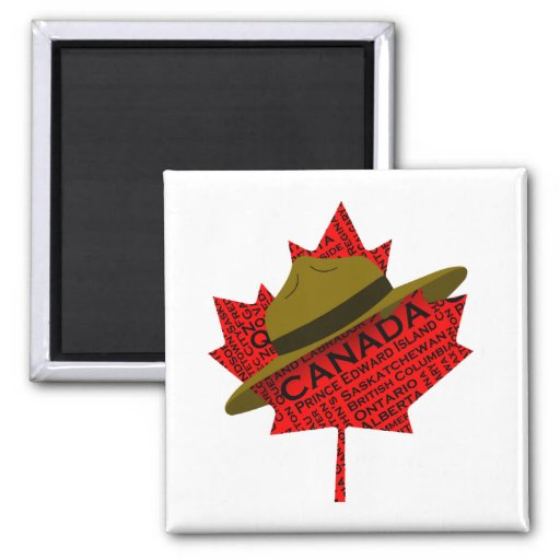 Gorra canadiense del Mountie en la hoja de arce ro Iman