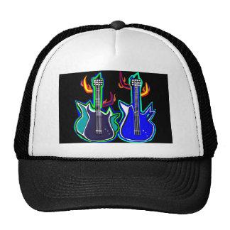 gorra con las guitarras ilustradas mano