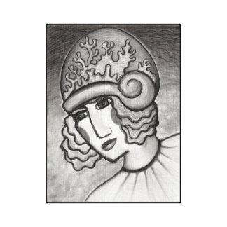 Gorra coralino del Cloche en la impresión de la Impresiones En Lienzo Estiradas