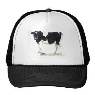 gorra de béisbol blanco y negro de la vaca