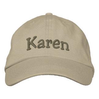 Gorra de béisbol bordada nombre de Karen de color