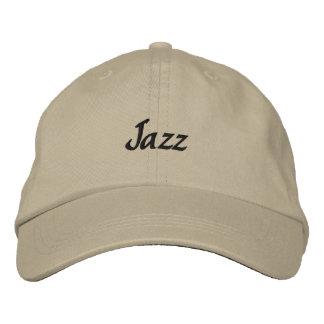 Gorra de béisbol oscura bordada jazz del texto