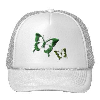 Gorra de béisbol verde de las mariposas