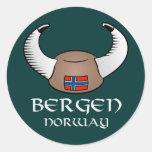 Gorra de Bergen Noruega Viking Pegatina Redonda