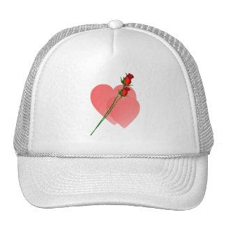 Gorra de dos corazones de los rosas dos