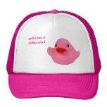 Gorra de encargo del pato del rosa lindo de goma d
