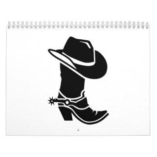 Gorra de la bota de vaquero calendarios