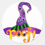 Gorra de la bruja del Poof Etiqueta Redonda