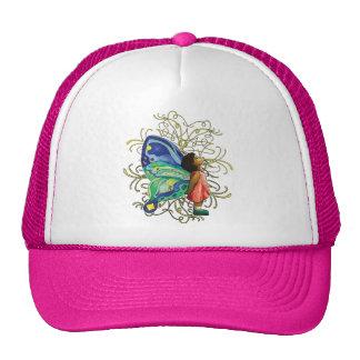 Gorra de la caligrafía del chica de la mariposa