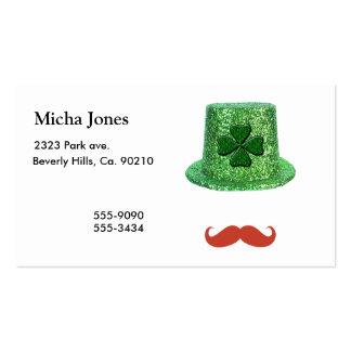 Gorra de la chispa del día de St Patrick y bigote  Tarjeta De Visita